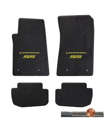 2010-2015 Camaro SS 4pc Ebony Black Ultimat Floor Mats - Yellow Logos on Fronts