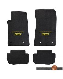 2010-2015 Camaro SS 4pc Ebony Black Velourtex Floor Mats - Yellow Logo on Fronts