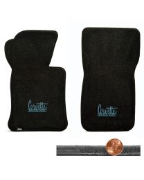 1963-1967 C2 Vette Black Velourtex Floor Mats - Blue Corvette Sting Ray Logos