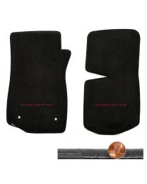 1968-1975 C3 Corvette Black 2pc Velourtex Floor Mats - CORVETTE Logo in Red