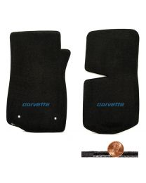 1976-1982 C3 Corvette Black 2pc Classic Loop Floor Mats - Blue CORVETTE Logo