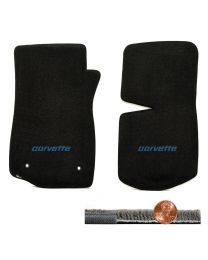 1976-1982 C3 Corvette Black 2pc Ultimat Front Floor Mats - Blue CORVETTE Logo