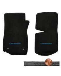 1976-1982 C3 Corvette Black 2pc Velourtex Floor Mats Set - Blue CORVETTE Logo