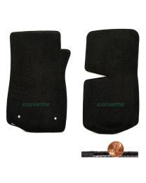 1976-1982 C3 Corvette Black 2pc Classic Loop Floor Mats - Green CORVETTE Logo