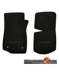1976-1982 C3 Corvette Black 2pc Ultimat Front Floor Mats - Green CORVETTE Logo