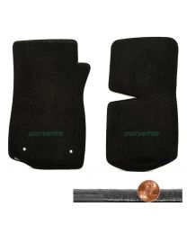 1976-1982 C3 Corvette Black 2pc Velourtex Floor Mats Set - Green CORVETTE Logo