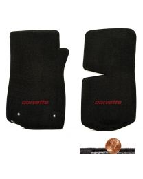1976-1982 C3 Corvette Black 2pc Classic Loop Floor Mats - Red CORVETTE Logo