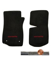 1976-1982 C3 Corvette Black 2pc Ultimat Front Floor Mats - Red CORVETTE Logo