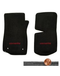 1976-1982 C3 Corvette Black 2pc Velourtex Floor Mats Set - Red CORVETTE Logo