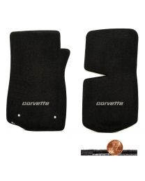 1976-1982 C3 Corvette Black 2pc Classic Loop Floor Mats - Silver CORVETTE Logo