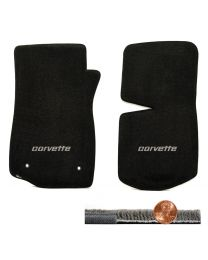 1976-1982 C3 Corvette Black 2pc Ultimat Front Floor Mats - Silver CORVETTE Logo