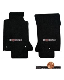 1997-2004 C5 Corvette Black 2pc Classic Loop Floor Mats - Silver Z06 405 HP Logo