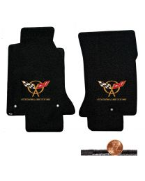 1997-2004 C5 Black 2pc Classic Loop Floor Mats - Gold Flags & CORVETTE Logos