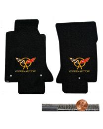 1997-2004 C5 Black 2pc Ultimat Floor Mats Set - Yellow Flags & CORVETTE Logos