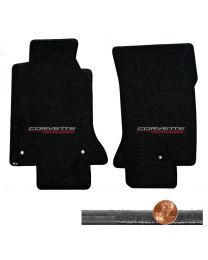1997-2004 C5 Corvette Black 2pc Velourtex Floor Mats Set - CORVETTE RACING Logos