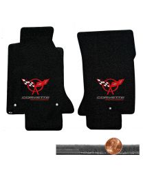 1997-2004 C5 Black 2pc Velourtex Floor Mats - Red Flags & CORVETTE RACING Logos