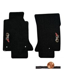 1997-2004 C5 Corvette Black 2pc Classic Loop Floor Mats - 50th Anniversary Logos