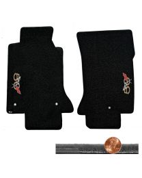 1997-2004 C5 Black 2pc Velourtex Floor Mats - 50th Anniversary Logos Face Doors