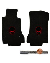 2008-2012 C6 Corvette Ebony Black Ultimat Floor Mats Set - Red Jake Skull Logos