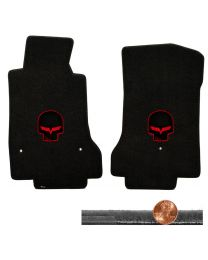 2008-2012 C6 Corvette Ebony Black Velourtex Floor Mats - Red Jake Skull Logos