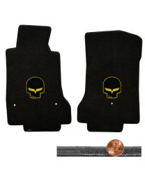 2008-2012 C6 Corvette Ebony Black Velourtex Floor Mats - Yellow Jake Skull Logos