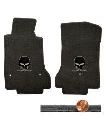 2008-2012 C6 Ebony Black Velourtex Floor Mats - Silver Skull & CORVETTE Logos