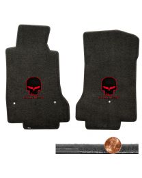 2008-2012 C6 Ebony Black Velourtex Floor Mats Set - Red Skull & CORVETTE Logos