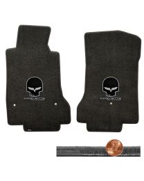 2008-2012 C6 Corvette Ebony Velourtex Floor Mats - Silver Skull & Racing Logos