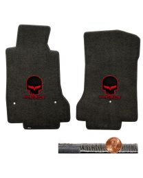 2008-2012 C6 Corvette Ebony Black Ultimat Floor Mats - Red Skull & Racing Logos