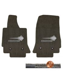 C7 Corvette Brownstone Brown 2pc Ultimat Floor Mats Set - Silver Stingray Logos