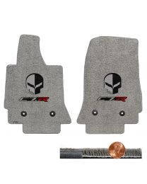 C7 Corvette Gray Grey 2pc Ultimat Front Floor Mats Set - Jake Skull & C7R Logos
