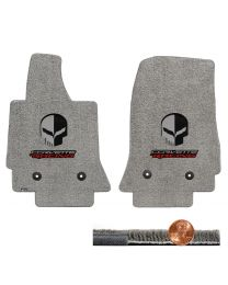 C7 Corvette Gray Grey 2pc Ultimat Floor Mats - Jake Skull CORVETTE RACING Logos