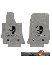 C7 Corvette Gray Grey 2pc Ultimat Floor Mats Set - Jake Skull & STINGRAY Logos
