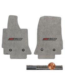 C7 Corvette Gray Grey 2pc Ultimat Front Floor Mats Set - Z06 Supercharged Logos