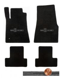 2005-2010 GT-500 Mustang Black 4pc Velourtex Floor Mats - GT-500 Cobra Logos