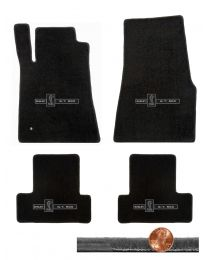 2005-2010 GT-500 Mustang Black 4pc Velourtex Floor Mats Set - GT-500 Cobra Logos