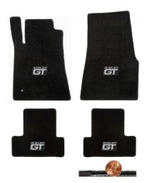 2005-2010 GT-500 Mustang Black 4pc Classic Loop Floor Mats - Shelby GT Logos