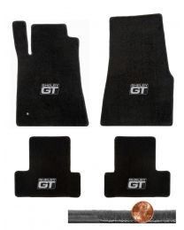 2005-2010 GT-500 Mustang Black 4pc Velourtex Floor Mats Set - Shelby GT Logos