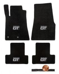 2011 2012 GT-500 & Mustang 4pc Black Classic Floor Mats Set - Shelby GT Logos