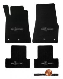 2013 2014 Shelby & Mustang Black 4pc Classic Floor Mats - GT-500 Cobra Logos