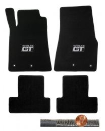 2013 2014 Black 4pc Front & Rear Ultimat Floor Mats Set - Silver Shelby GT Logos