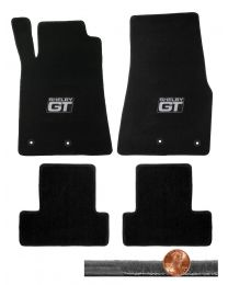 2013 2014 Black 4pc Front & Rear Velourtex Floor Mats - Silver Shelby GT Logos