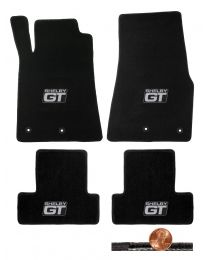 2013 2014 Black 4pc Front & Rear Classic Loop Floor Mats - Silver Shelby GT Logo
