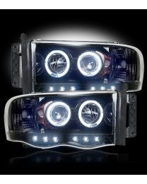 2002-2005 Dodge Ram Projector Headlights Smoked Lens w/ LED Halos & DRLs - LH/RH