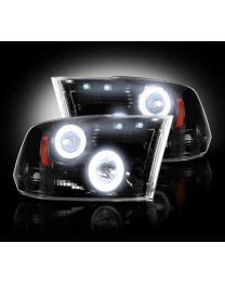 2009-13 Dodge Ram Projector Headlights Smoked Lens w Chrome Housing & CCFL Halos