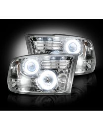 2009-13 Dodge Ram Projector Headlights Clear Lens w Chrome Housing & CCFL Halos