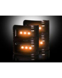 2008-16 Ford Super Duty Truck Side Mirror Lenses Dark Smoked - Amber LED Lights