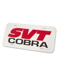 Mustang SVT Cobra Front or Rear Plastic License Plate - Red & White