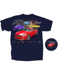 2016-2017 Ford Mustang Running Horse Cars Blue Graphic T-Shirt Shirt - Large