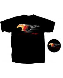 Men's Ford Mustang Flaming Running Horse Pony Black Graphic T-Shirt Shirt - 2X